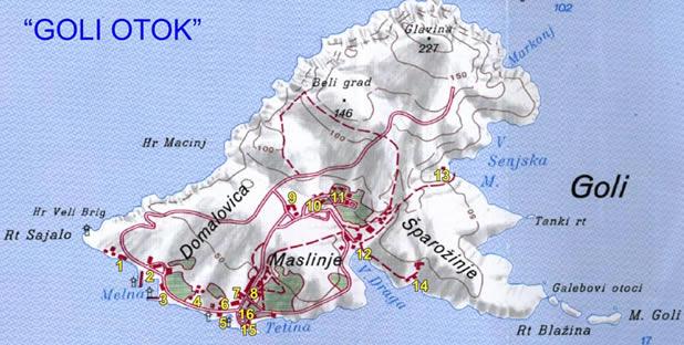 Goli otok map